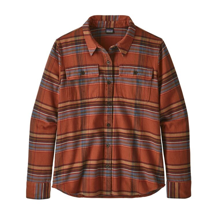 Patagonia W's Long Sleeve Fjord Flannel Shirt, Cabin Time: Barro Brown