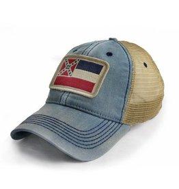 S.L. Revival Co. Mississippi Flag  Trucker Hat, Americana Blue
