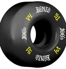 Eastern Skate Supply Bones Wheels 100's OG #12 V4 Black w/ Yellow / White Skateboard Wheels - 51mm 100a (Set of 4)
