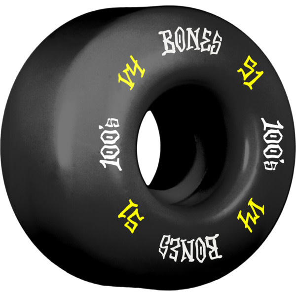 Eastern Skate Supply Bones Wheels 100's OG #12 V4 Black w/ Yellow / White Skateboard Wheels - 51mm 100a (Set of 4)