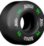 Eastern Skate Supply Bones Wheels 100's OG #12 V4 Black w/ Green / White Skateboard Wheels - 54mm 100a (Set of 4)