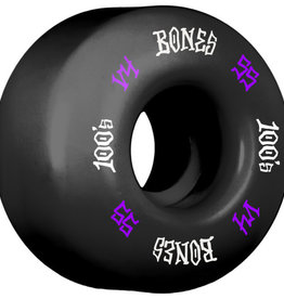 Eastern Skate Supply Bones Wheels 100's OG #12 V4 Black w/ Purple / White Skateboard Wheels - 55mm 100a (Set of 4)