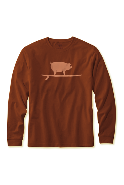 Surfing Pig L/S Tee, Clay