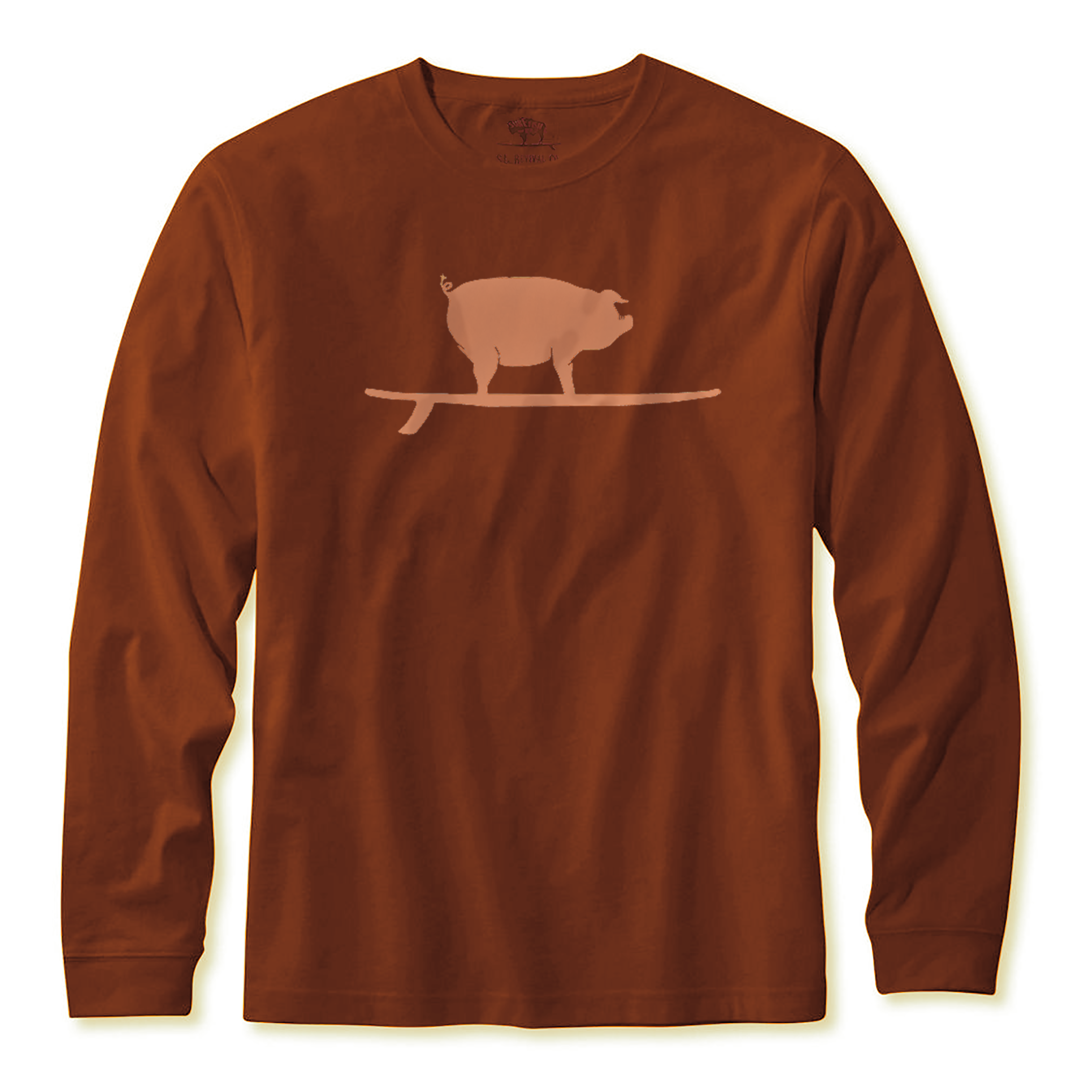 Surfing Pig L/S Tee, Clay-1