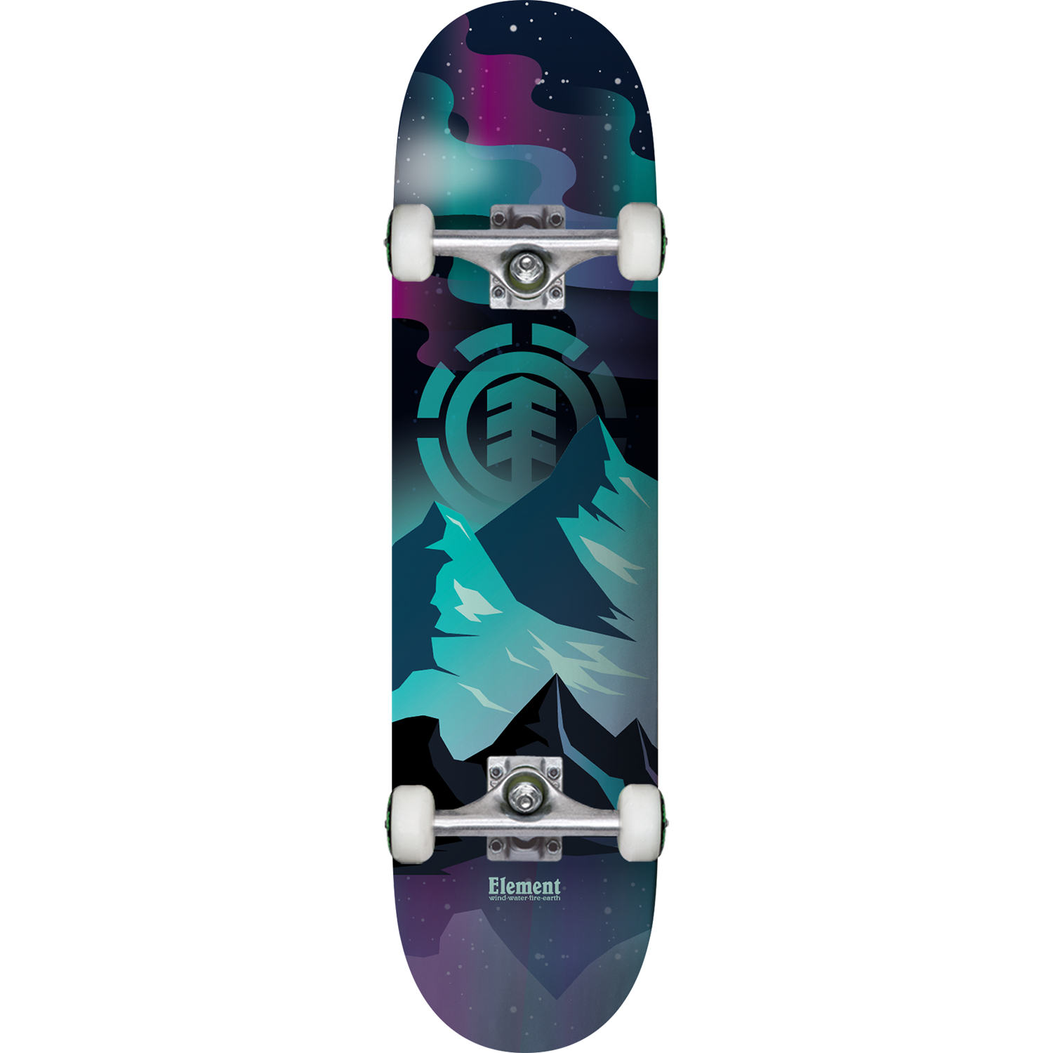 "Eastern Skate Supply Element Skateboards Aurora Black/Green/Purple Complete Skateboard - 7.7"" x 31.25"""