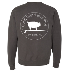 S.L. Revival Co. Surf, Wind and Fire Logo Crew Neck, New Railroad Grey