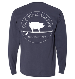 S.L. Revival Co. Surf, Wind and Fire Logo L/S Tshirt, Anchor Slate