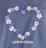 Life is Good Women's Long Sleeved Ex-Boyfriend Crusher Tee, Flower Heart, Darkest Blue