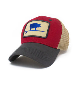 S.L. Revival Co. Wave Hog Surfing Pig, Structured Trucker Hat, Firecracker Red