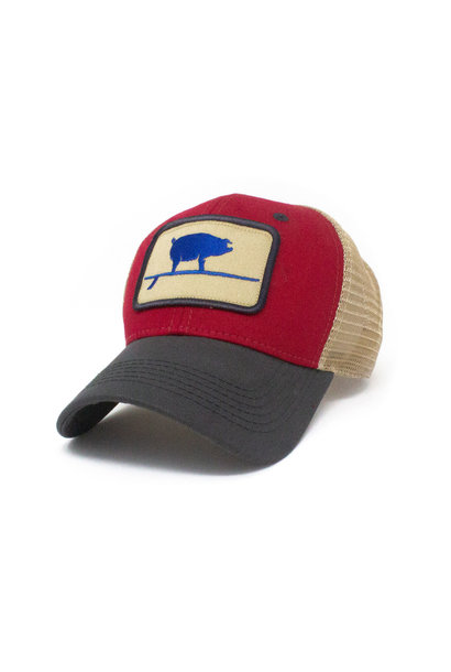 Wave Hog Surfing Pig, Structured Trucker Hat, Firecracker Red