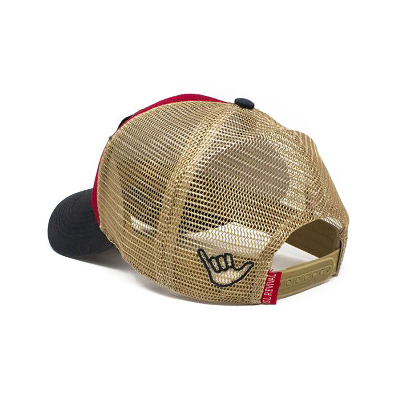 S.L. Revival Co. Wave Hog Surfing Pig, Structured Trucker Hat, Firecracker Red