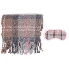 Barbour Tartan Boucle Blanket & Eye Mask Set, Taupe/Pink Tartan
