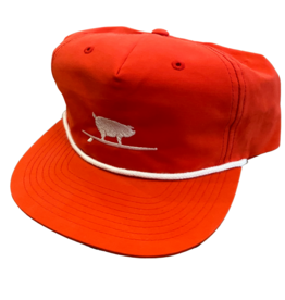 S.L. Revival Co. Surfing Pig Captain's Flatbrim Hat, Red/White