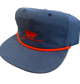 S.L. Revival Co. Surfing Pig Captain's Flatbrim Hat, Navy/Red