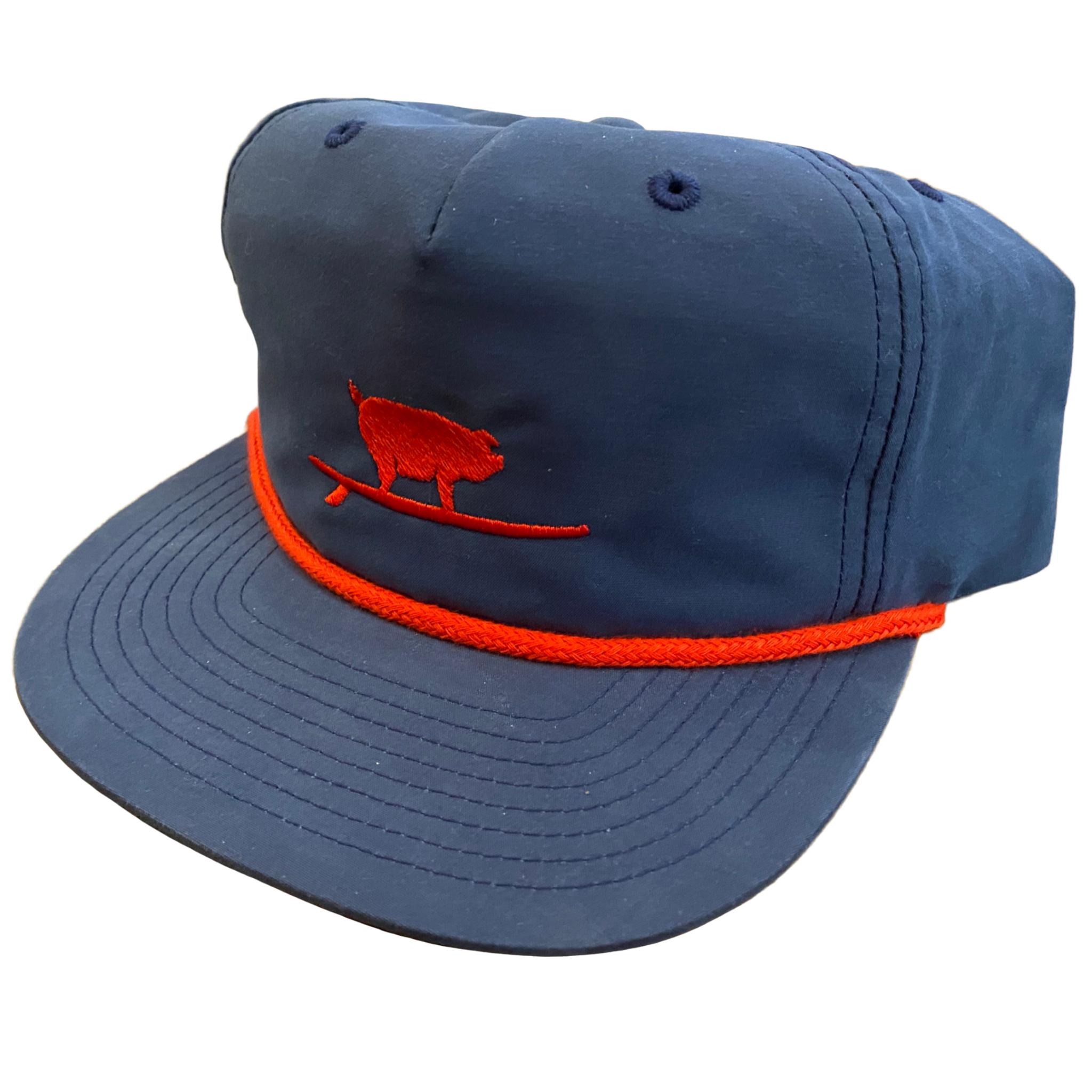 S.L. Revival Co. Surfing Pig Captain's Flatbrim Hat, Navy/Red