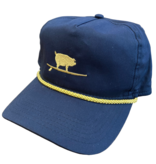 S.L. Revival Co. Surfing Pig Captain's Flatbrim Hat, Navy/Gold