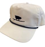 S.L. Revival Co. Surfing Pig Captain's Flatbrim Hat, White/Navy