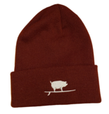 S.L. Revival Co. Surfing Pig Beanie, Maroon