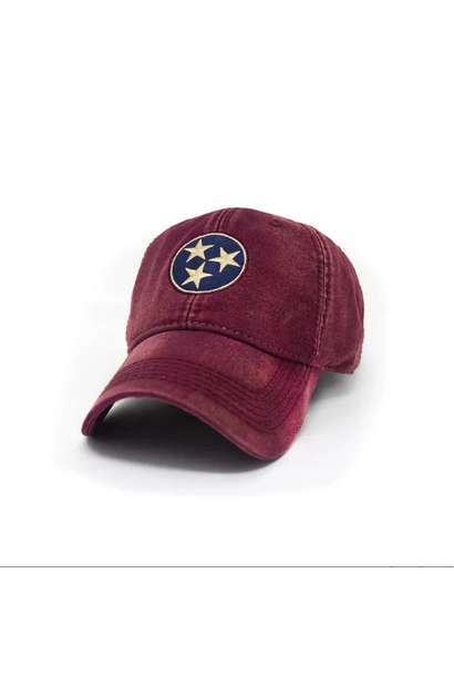 Tennessee Flag Tri-Star Hat, Vintage Brick Red