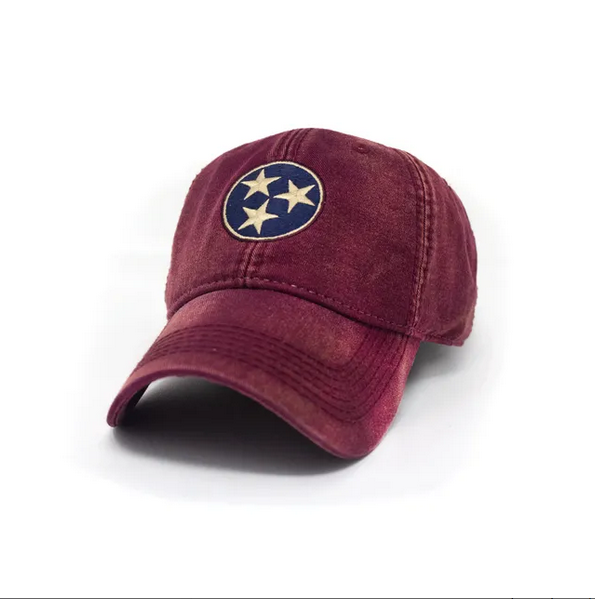 S.L. Revival Co. Tennessee Flag Tri-Star Hat, Vintage Brick Red