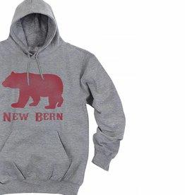 New Bern Bear Hoodie, Grey