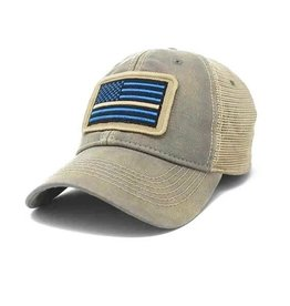 S.L. Revival Co. Thin Line EMS Flag Trucker Hat, Driftwood