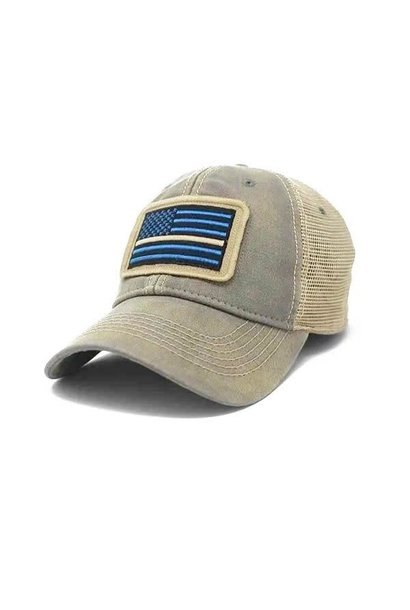 Thin Line EMS Flag Trucker Hat, Driftwood