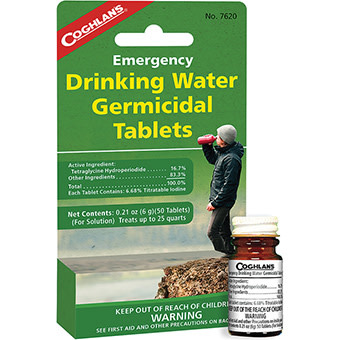 COGHLANS Emergency Drinking Water Germicidal Tablets