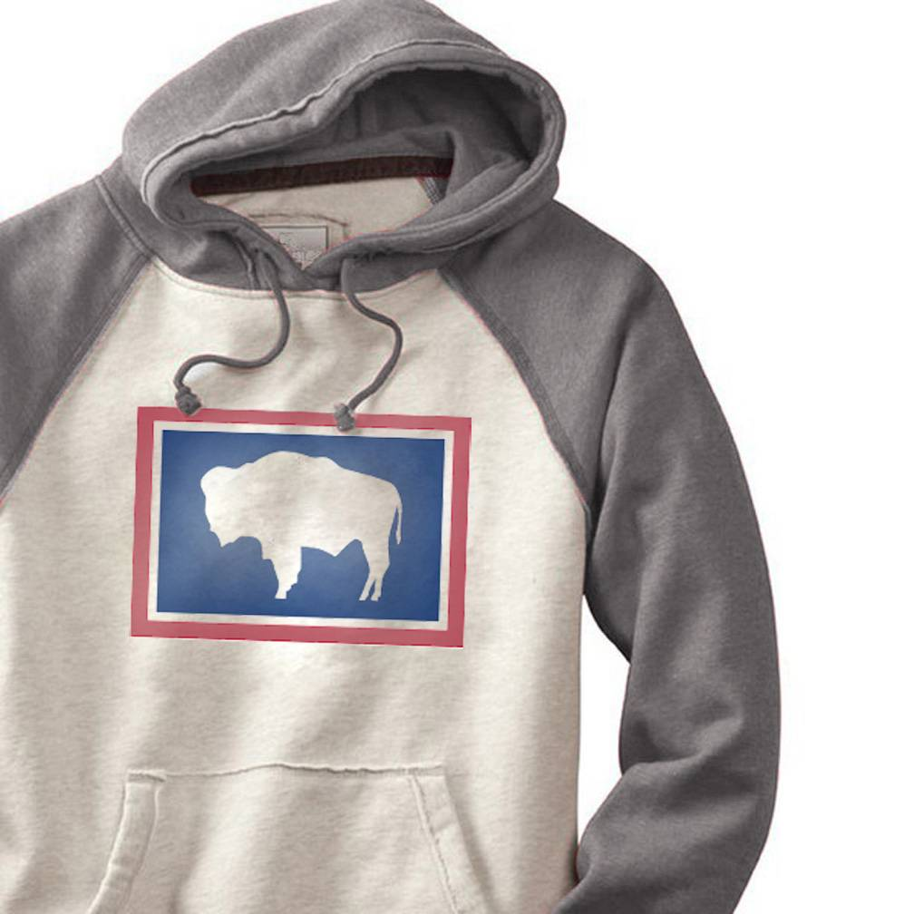 S.L. Revival Co. Wyoming Buffalo Hippy Hoodie, Oatmeal and Grey