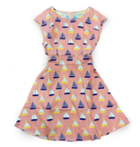 Surf, Wind and Fire Sail Boat Print Dress, Pink