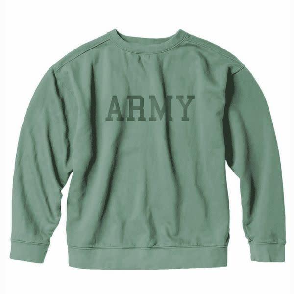 S.L. Revival Co. Army Collegiate Sweatshirt, Green