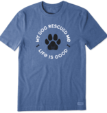 Life is Good M's Rescue Bones Crusher Tee, Heather Vintage Blue