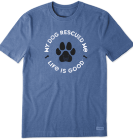Life is Good M's Rescue Bones Crusher Tee, Heather Vintage Blue