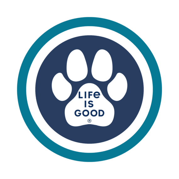 "Life is Good Paw Coin 4"" Circle Sticker"