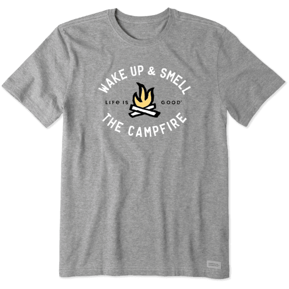 Life is Good M's Smell the Campfire Crusher Tee, Heather Grey