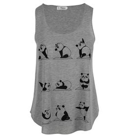 Women's Yoga Panda Tank, Grey