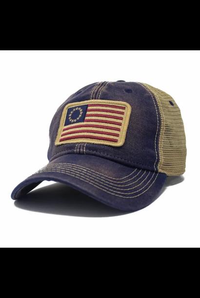 Betsy Ross Flag Trucker Hat, Navy Blue