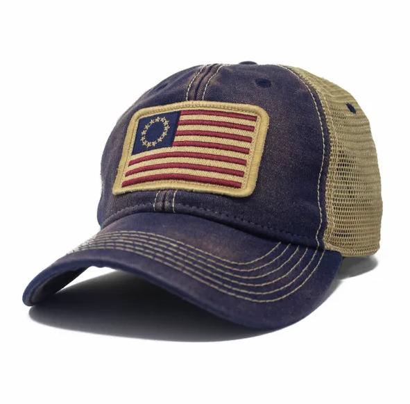 Betsy Ross Flag Trucker Hat, Navy Blue-1