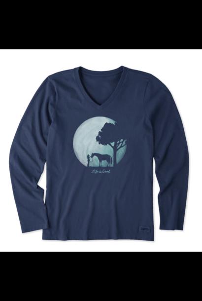 Women's Celestial Horse Long Sleeve Crusher Vee, Darkest Blue