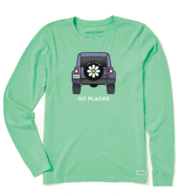 Life is Good Women's Go Places Crusher Long Sleeve, Spearmint Green