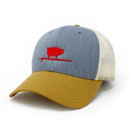 Surfing Pig  Shop Trucker Hat, Grey/Gold