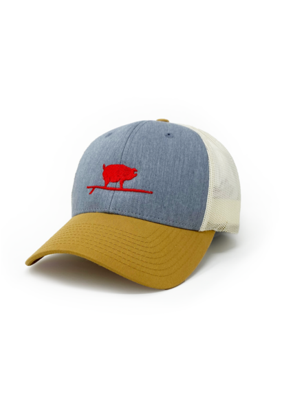Surfing Pig  Shop Trucker Hat, Grey/Gold