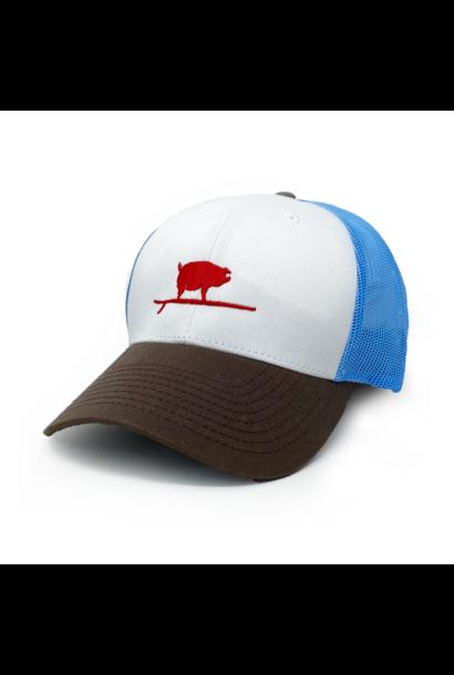 Surfing Pig  Shop Trucker Hat, Light Blue/Brown