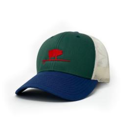 Surfing Pig  Shop Trucker Hat, Green/Navy