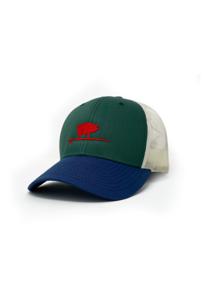 Surfing Pig  Shop Trucker Hat, Green/Navy