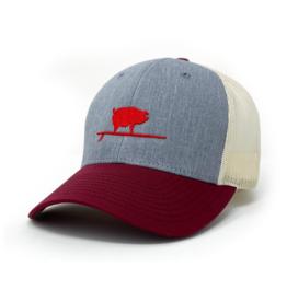 Surfing Pig  Shop Trucker Hat, Grey/Wine