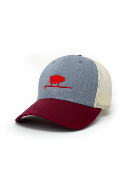 Surfing Pig  Shop Trucker Hat, Grey/Wine