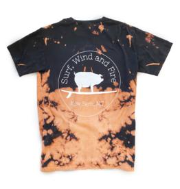 S.L. Revival Co. Surfing Pig Logo Shirt, Short Sleeve, Bleach Dye Black