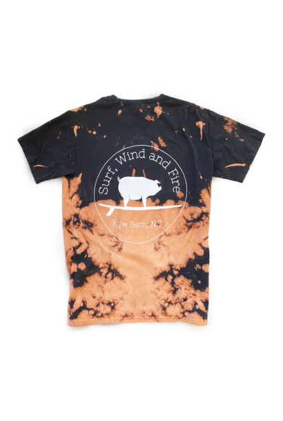 Surfing Pig Logo Shirt, Short Sleeve, Bleach Dye Black