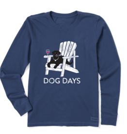 Life is Good Women's Dog Days Wine Crusher Long Sleeve, Darkest Blue